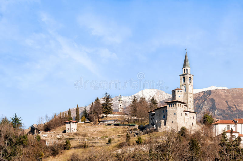 Medieval castle in Italy. Medieval castle in Italy in the foothills of the Alps. Artegna, Udine stock photo
