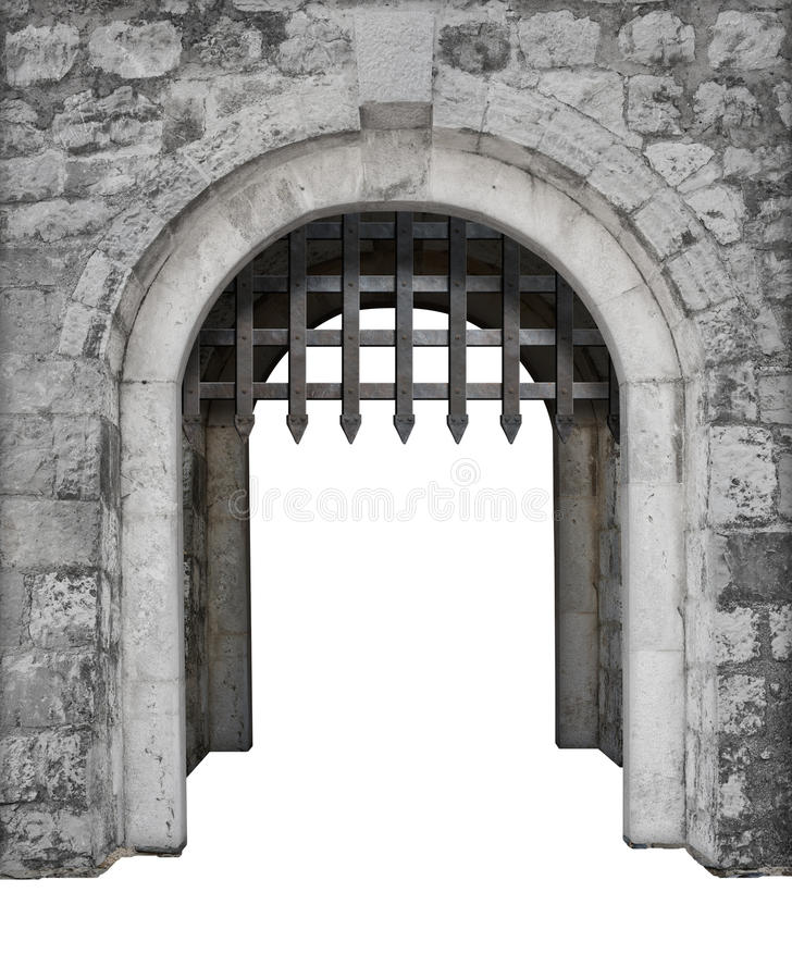 Medieval castle main enter or gate. Isolated stock photo