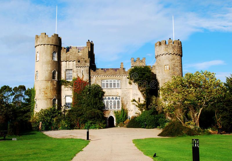 Medieval castle at Malahide Ireland, Dublin royalty free stock image