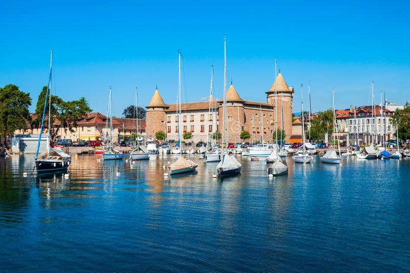 Medieval castle in Morges, Switzerland. Medieval castle in Morges. Morges is a town on the shores of Lake Geneva in the canton of Vaud in Switzerland stock image