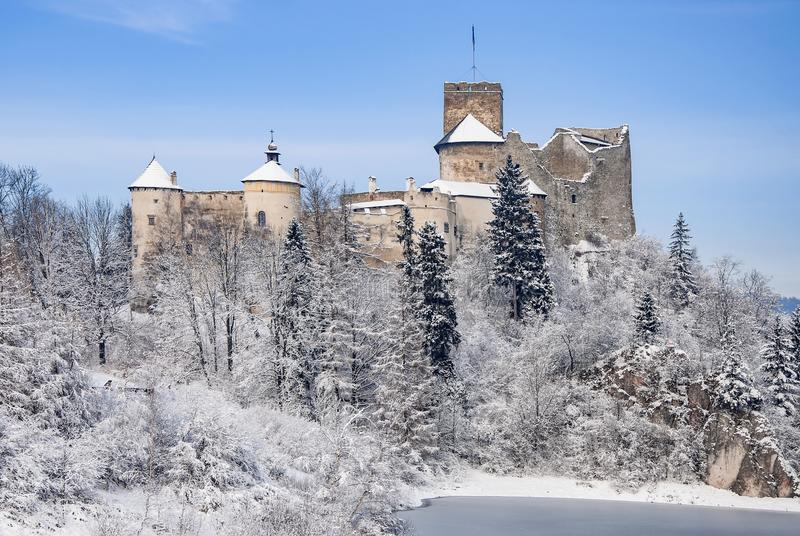 Medieval Castle in Niedzica, Poland, in winter. Medieval castle in Niedzica, Poland, in snow in winter on the rocky cliff at artificial Czorsztyn lake on Dunajec stock image
