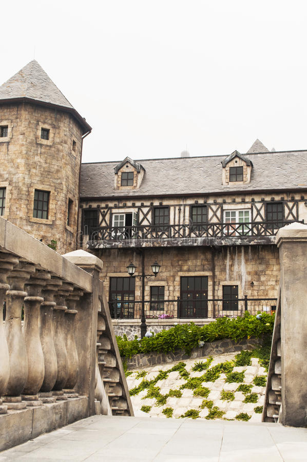 Medieval castle. Old house in ancient medieval french village stock photos