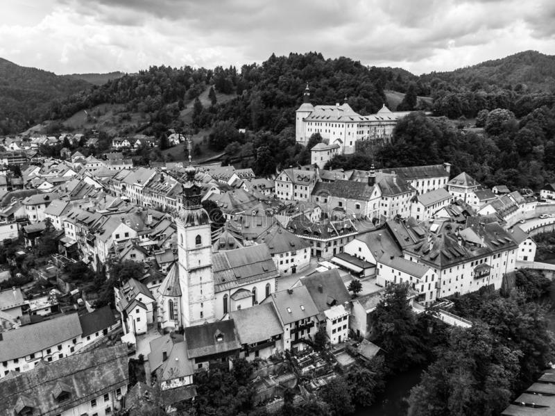 Medieval Castle in old town of Skofja Loka, Slovenia. Black and white image stock photography