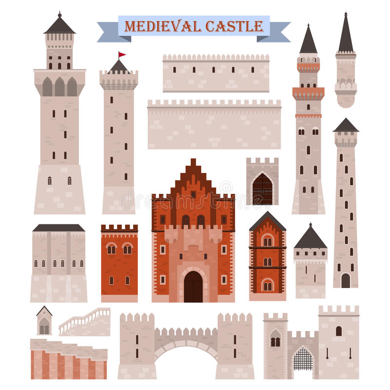 Medieval castle parts like gates, walls, towers royalty free illustration