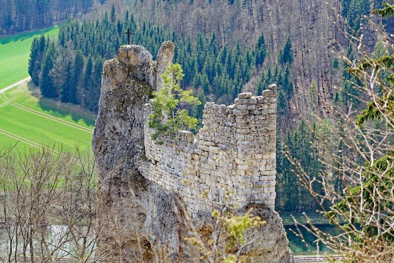 Medieval castle ruin in the danube valley stock photography