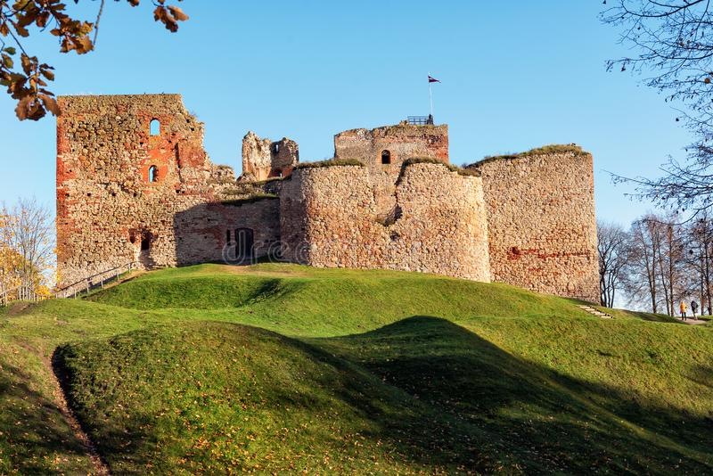 Medieval castle ruins in Bauska town, Latvia.  royalty free stock photography