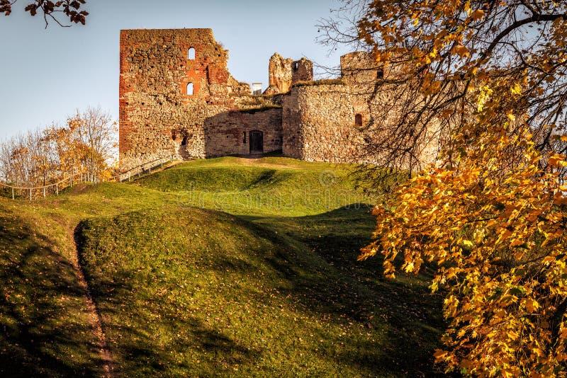 Medieval castle ruins in Bauska town, Latvia.  royalty free stock photo