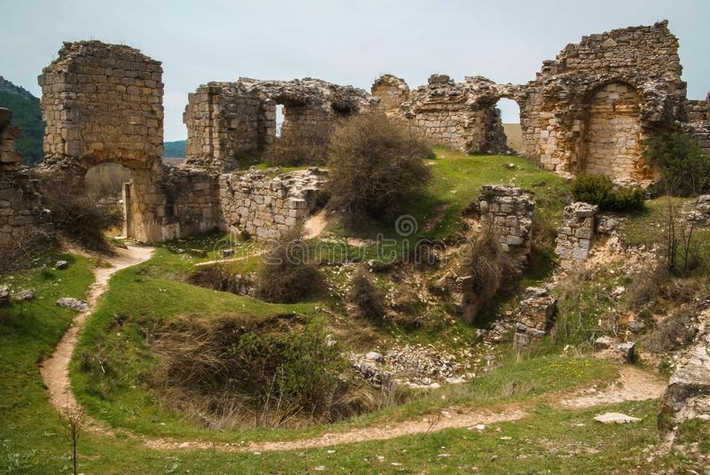 Medieval castle in San Leonarsdo de Yaque, Castilla y Leon, Spain. Image of medieval castle in San Leonarsdo de Yaque, Soria, Castilla y Leon, Spain royalty free stock images