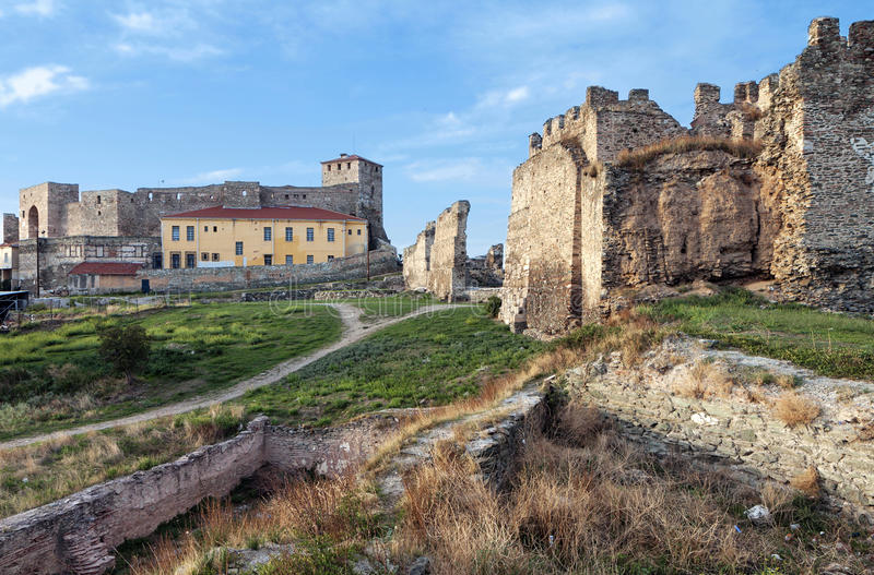 Medieval castle at Thessaloniki city in royalty free stock photos