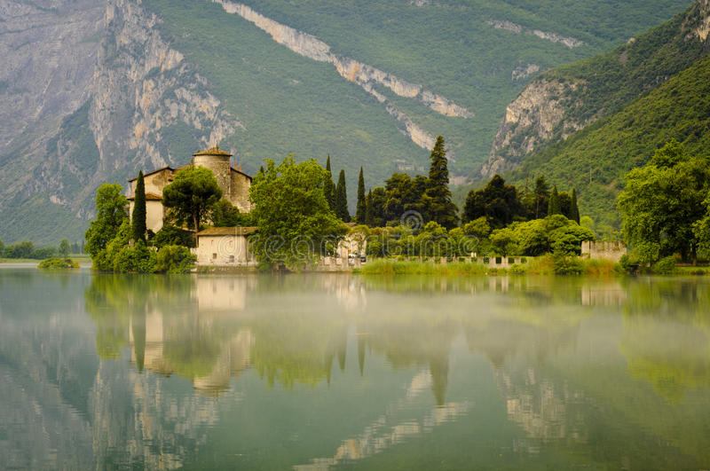 Medieval Castle on Toblino Lake, Trentino, Italy royalty free stock image