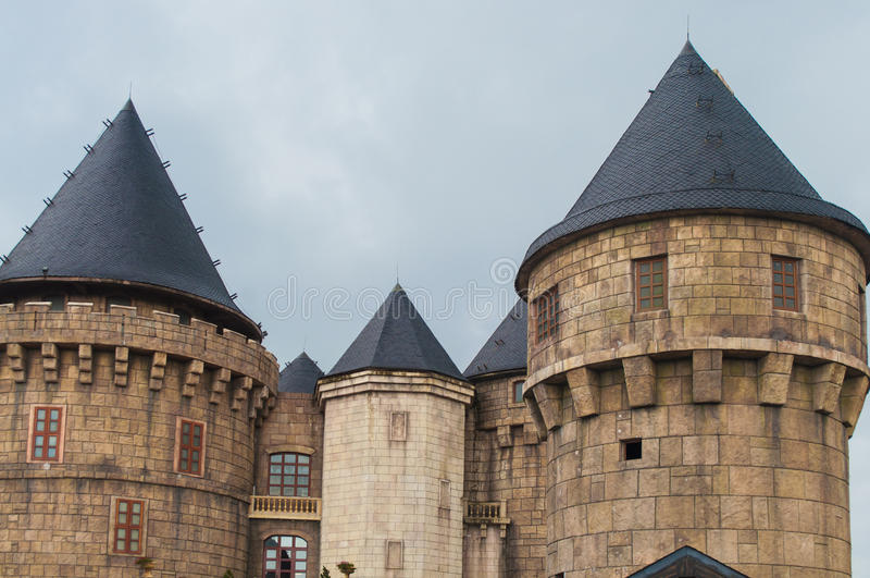 Medieval castle. Tower in ancient french village stock photos