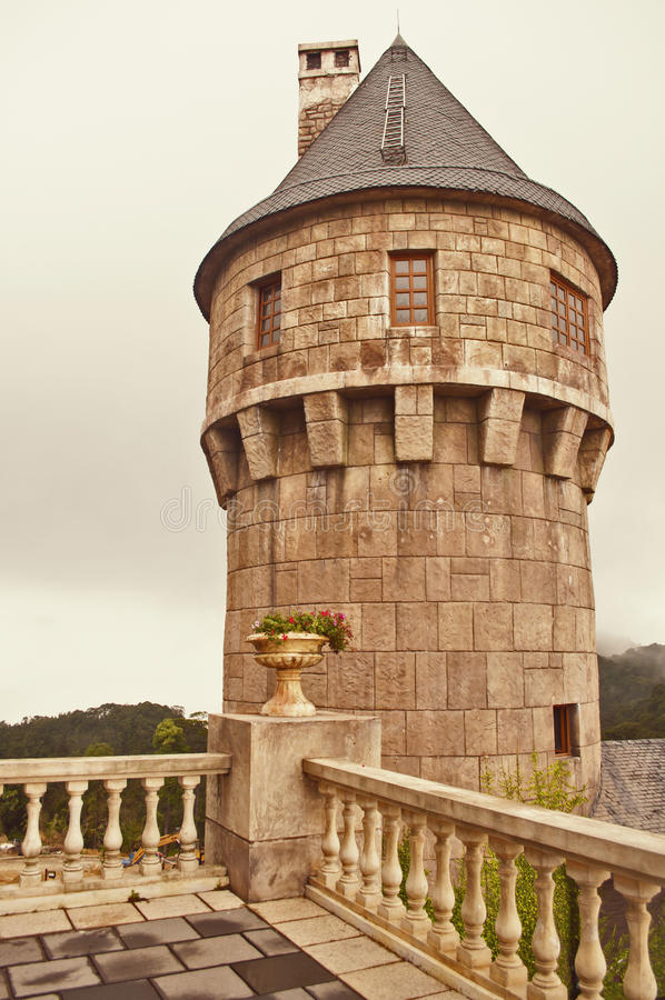 Medieval castle. The tower in medieval castle in bana hills french village royalty free stock photos