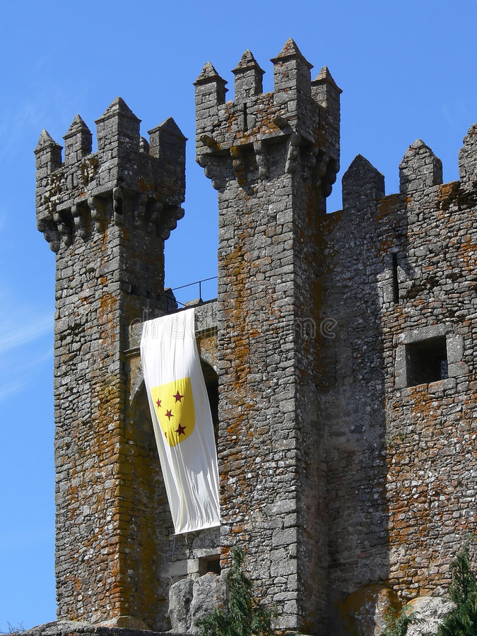 Medieval castle towers. From old village in Portugal stock photos