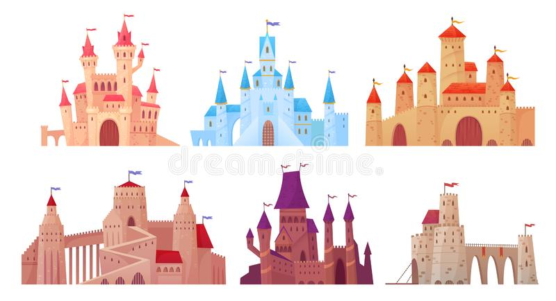 Medieval castle towers. Fairytail mansion exterior, king fortress castles and fortified palace with gate cartoon vector. Medieval castle towers. Fairytail royalty free illustration