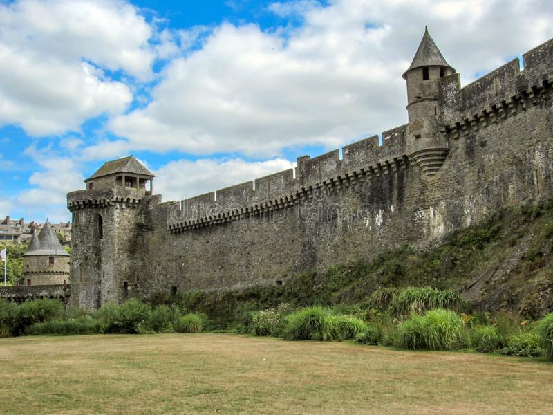The medieval castle and town of Fougeres, Brittany, northwestern France royalty free stock images
