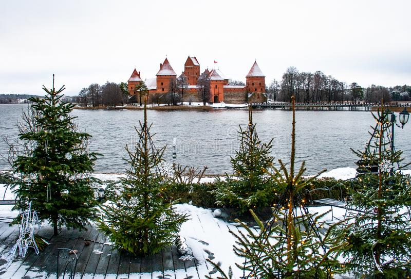 Medieval castle of Trakai, Vilnius, Lithuania, Eastern Europe, in winter stock image