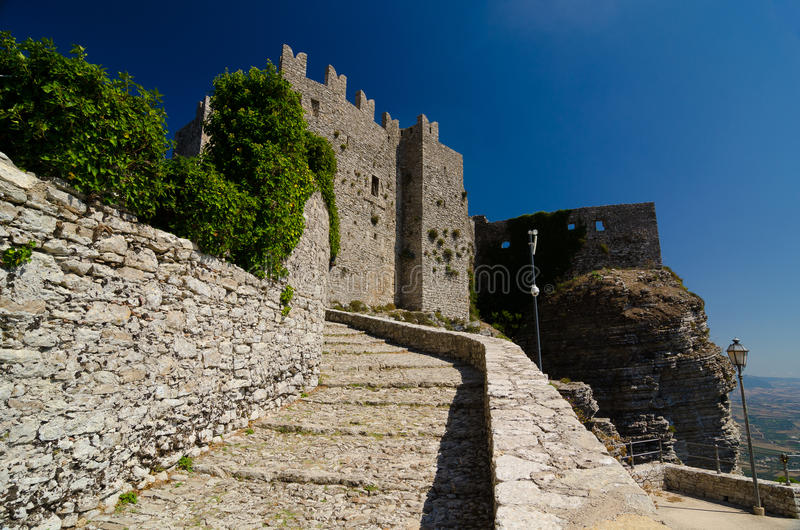 Medieval Castle of Venus in Erice, Sicily, Italy stock photos
