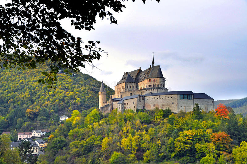 Medieval Castle of Vianden on top of the mountain in Luxembourg stock image