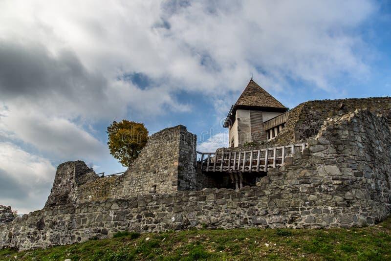 Medieval castle Visegrad in Hungary. Visegrad Hungary, Danube river and Medieval castle royalty free stock photo