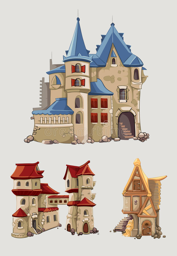 Medieval castles and buildings vector set in cartoon style stock illustration
