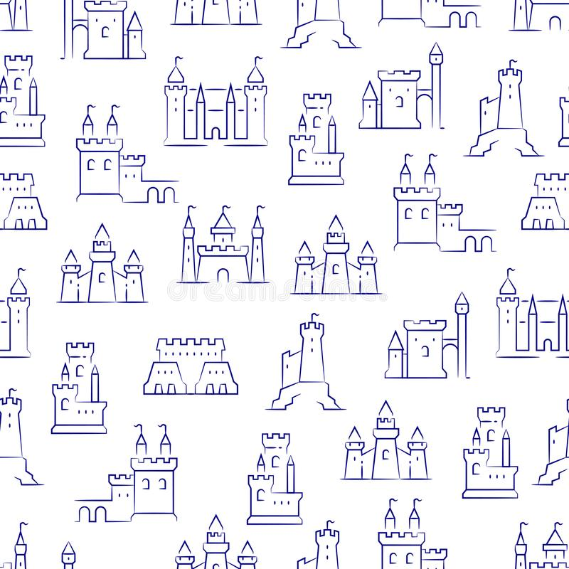 Medieval castles, fortress, bastions seamless pattern royalty free illustration