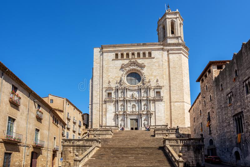 The medieval Cathedral of Saint Mary of Girona, Catalonia, Spain. The main facade of the gothic style medieval Cathedral of Saint Mary in Girona Old Town royalty free stock photography