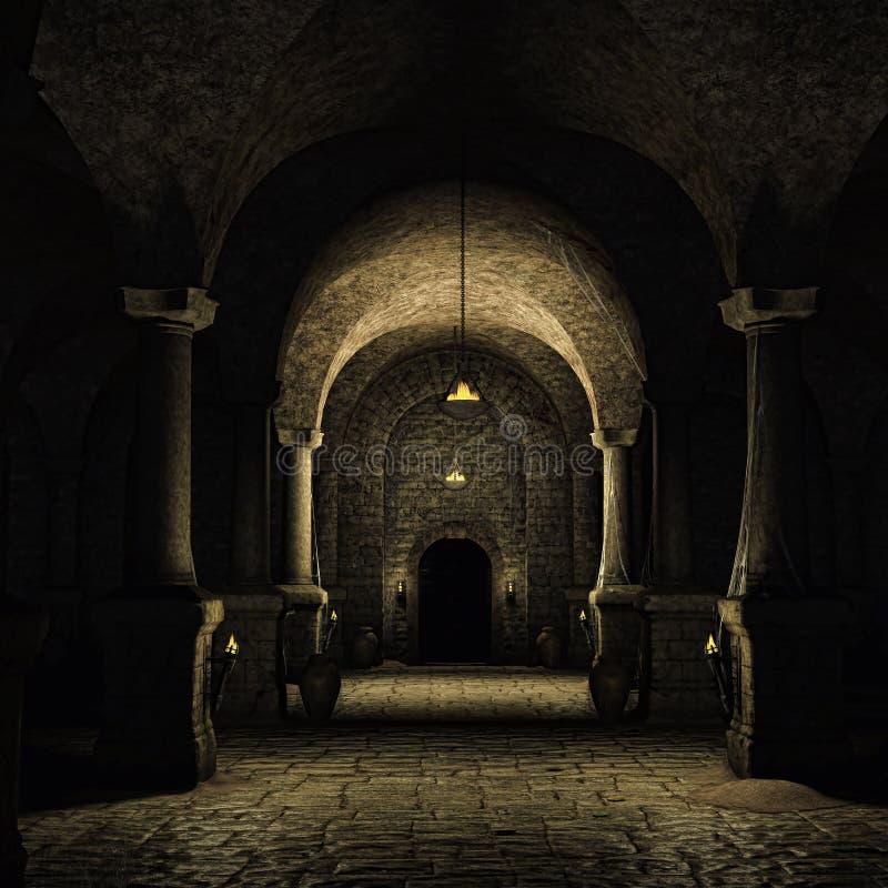 Medieval cellar. Dark cellar in a medieval castle stock illustration