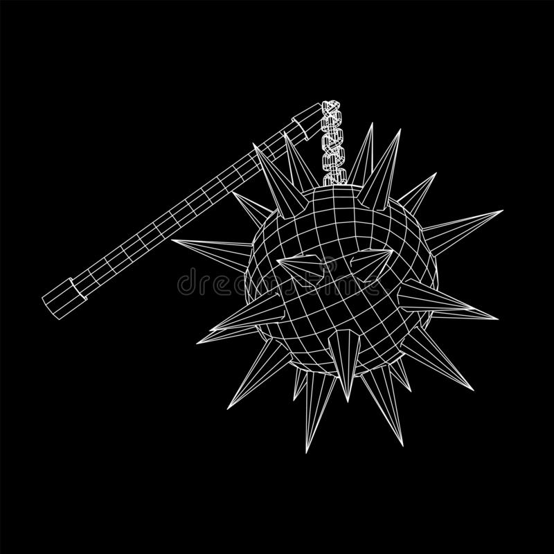 Medieval chained mace ball. Wireframe low poly mesh vector illustration royalty free illustration