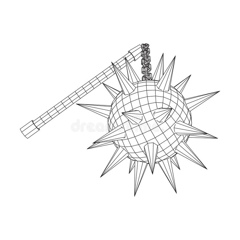Medieval chained mace ball. Wireframe low poly mesh vector illustration vector illustration