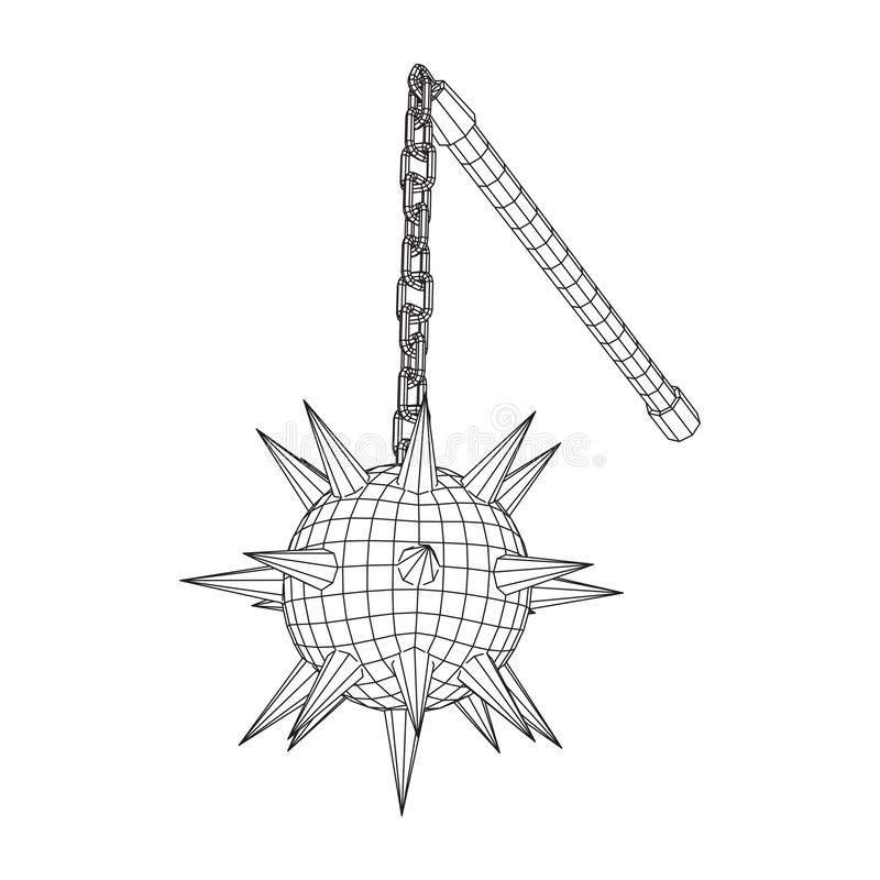 Medieval chained mace ball. Wireframe low poly mesh vector illustration stock illustration