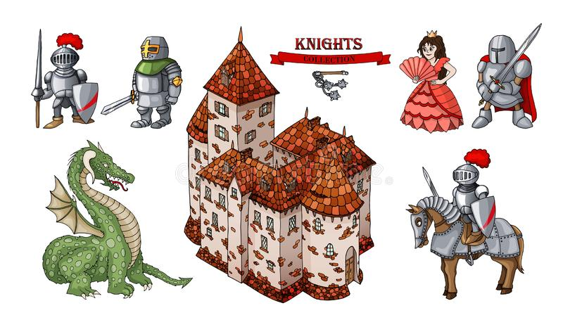 Medieval characters historical buildings cartoon objects set vector illustration