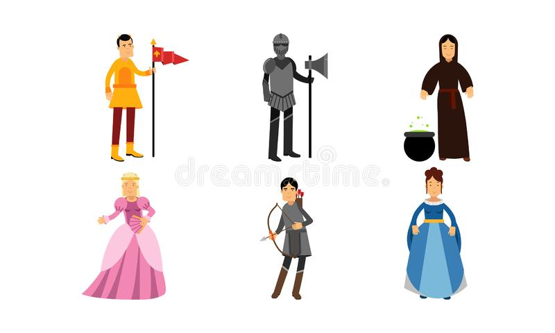 Medieval Cartoon Characters Of A Princess, A Herald, A Knight, A Wizard, An Archer And A Lady In Vector Illustration Set royalty free illustration