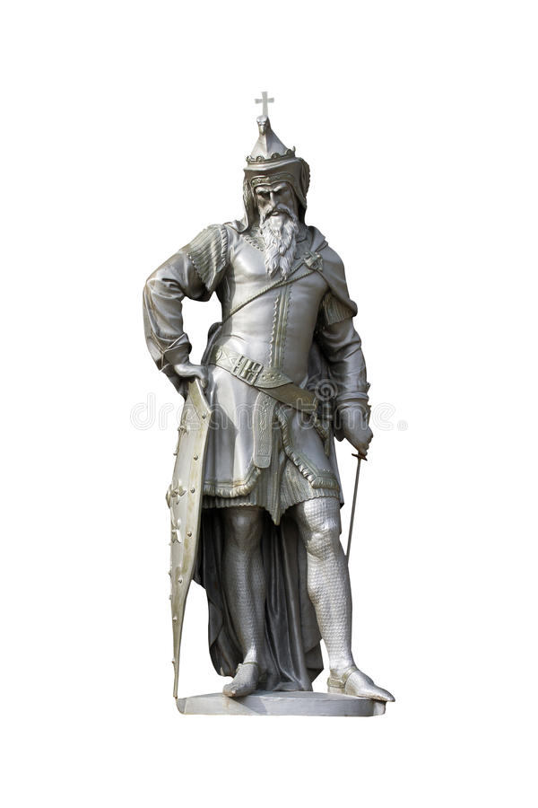 Medieval Christian king statue isolated on white stock photos