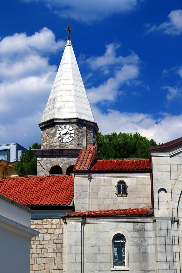 Medieval church in resort town Opatija, Croatia stock photography