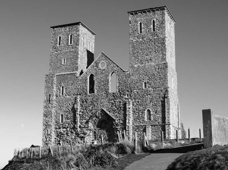 Medieval church ruins. Built on the site of a Roman fort, the medieval ruins of St. Mary's Church at Reculver, Kent, England. Black and white monochrome royalty free stock photography
