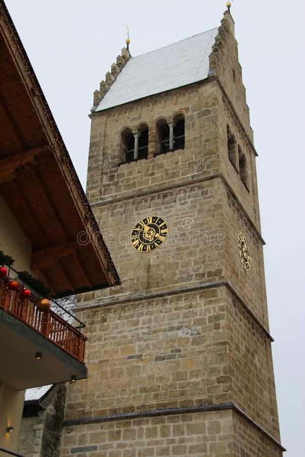 Medieval church St Hippolyt in Zell am See, Austria. stock photos