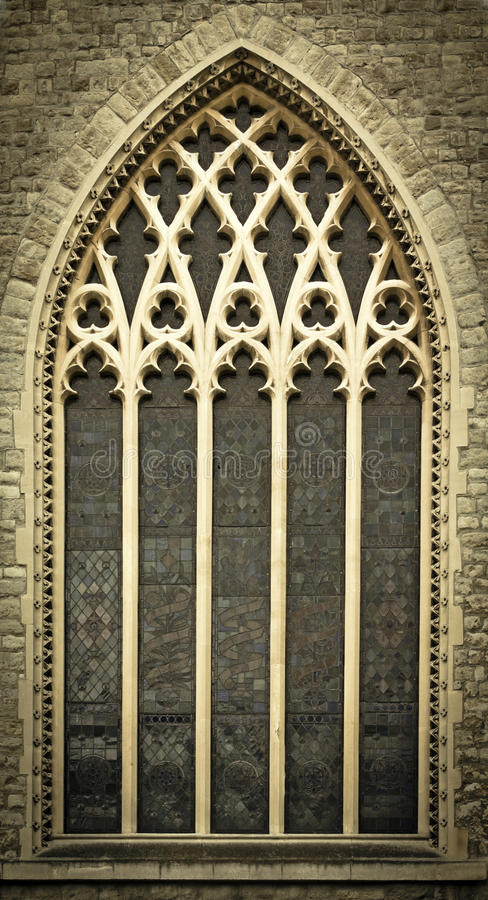 Medieval Church Windows. Window of a medieval church in Central London, United Kingdom stock images