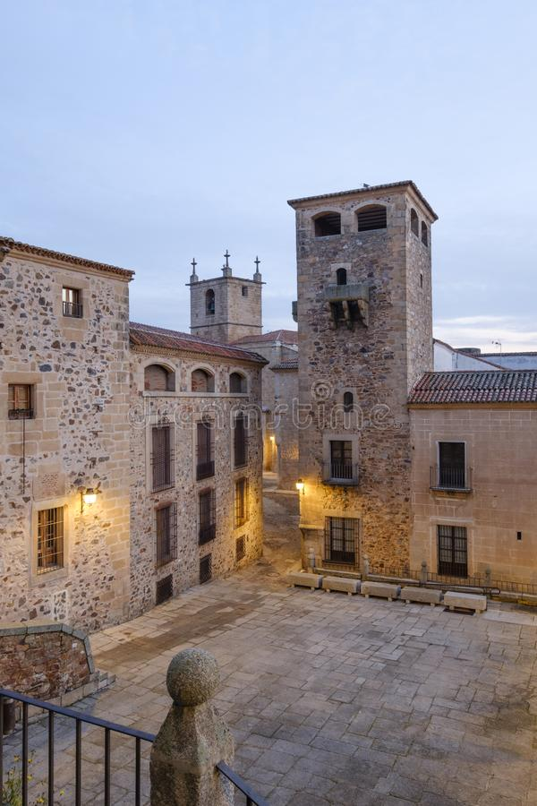 Medieval city center of caceres spain stock photo