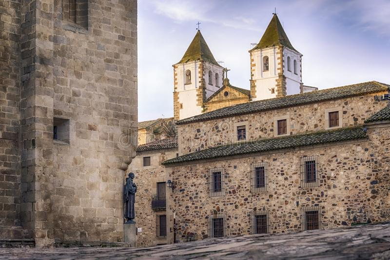 Medieval city center of caceres spain royalty free stock photos