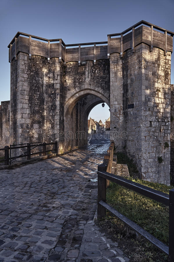The medieval city gate and ramparts. In Provins, France stock photography