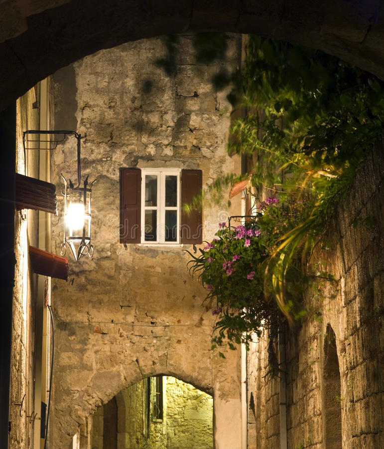 Medieval city of Rhodes in Greece stock images