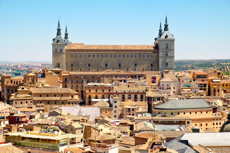The medieval city of Toledo in Spain with the Alcazar overlooking the old town stock photos