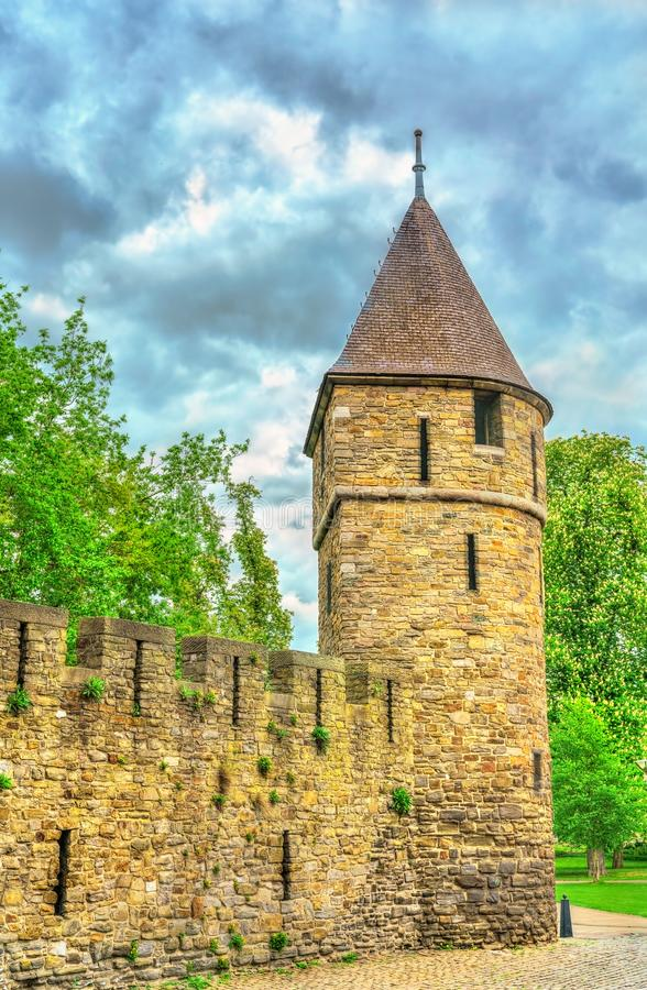 A medieval city tower of Maastricht, the Netherlands stock photos