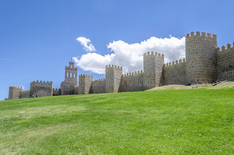 Medieval city wall built in the Romanesque style a sunny day , A. Vila, Spain royalty free stock photos
