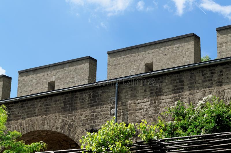Medieval city wall cologne. The medieval city wall of cologne with battlements royalty free stock image