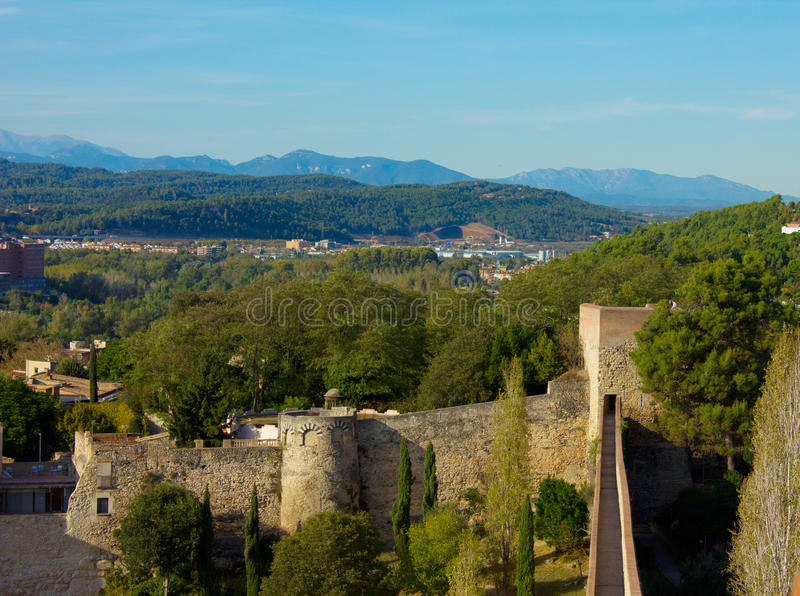 Medieval city wall, Girona, Spain. Old medieval city wall, Girona, Spain stock photo