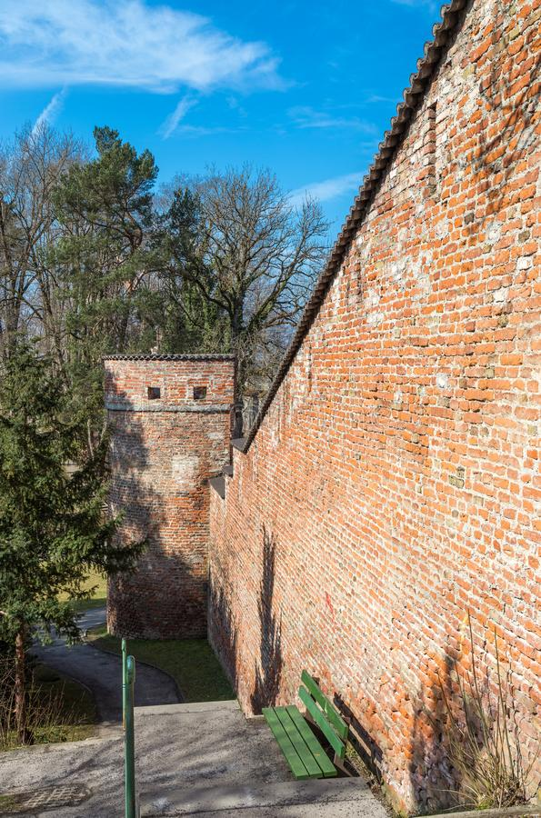 City wall, Landsberg, Germany. Medieval city wall, Landsberg, Bavaria, Germany royalty free stock photo