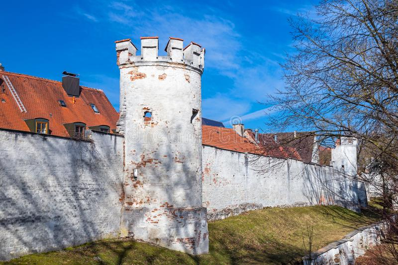 City wall, Landsberg, Germany. Medieval city wall, Landsberg, Bavaria, Germany stock photos