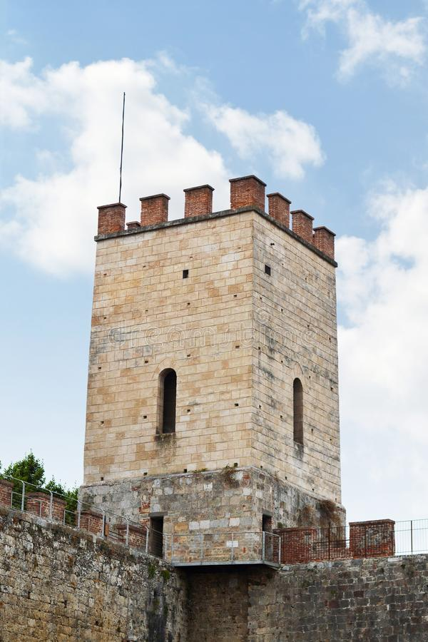 Medieval city wall and tower, Pisa, Italy royalty free stock photography