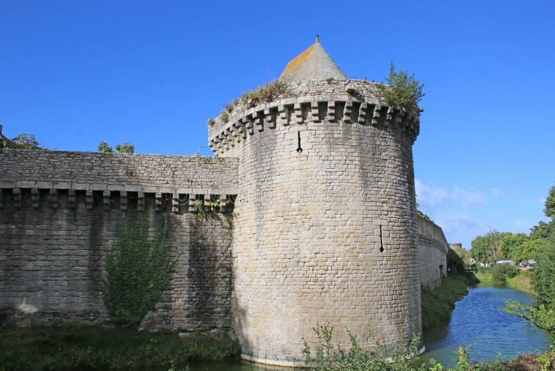 Medieval city walls, Guerande, France. Medieval city walls and moat, Guerande, France stock images